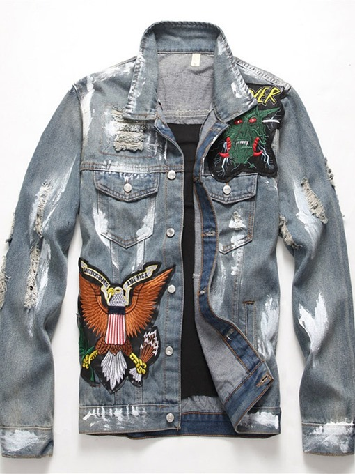 Ericdress Appliques Letter Lapel Single-Breasted Straight Men's Jacket