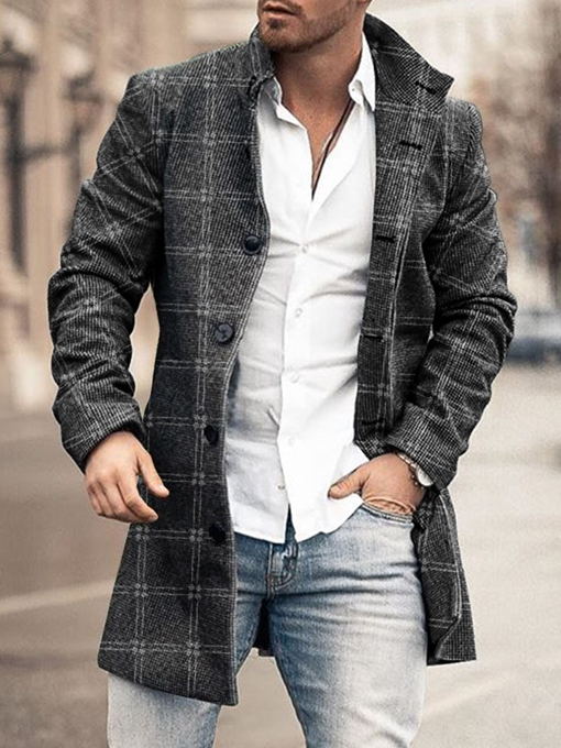 Ericdress Plaid Mid-Length Stand Collar Single-Breasted European Coat