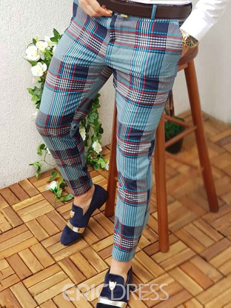 Ericdress Plaid Pencil Pants Casual Mid Waist Men's Slim Pants