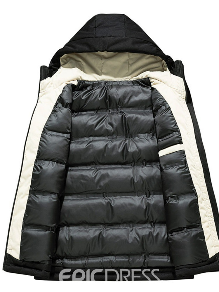 Ericdress Print Hooded Standard Zipper European Men's Down Jacket