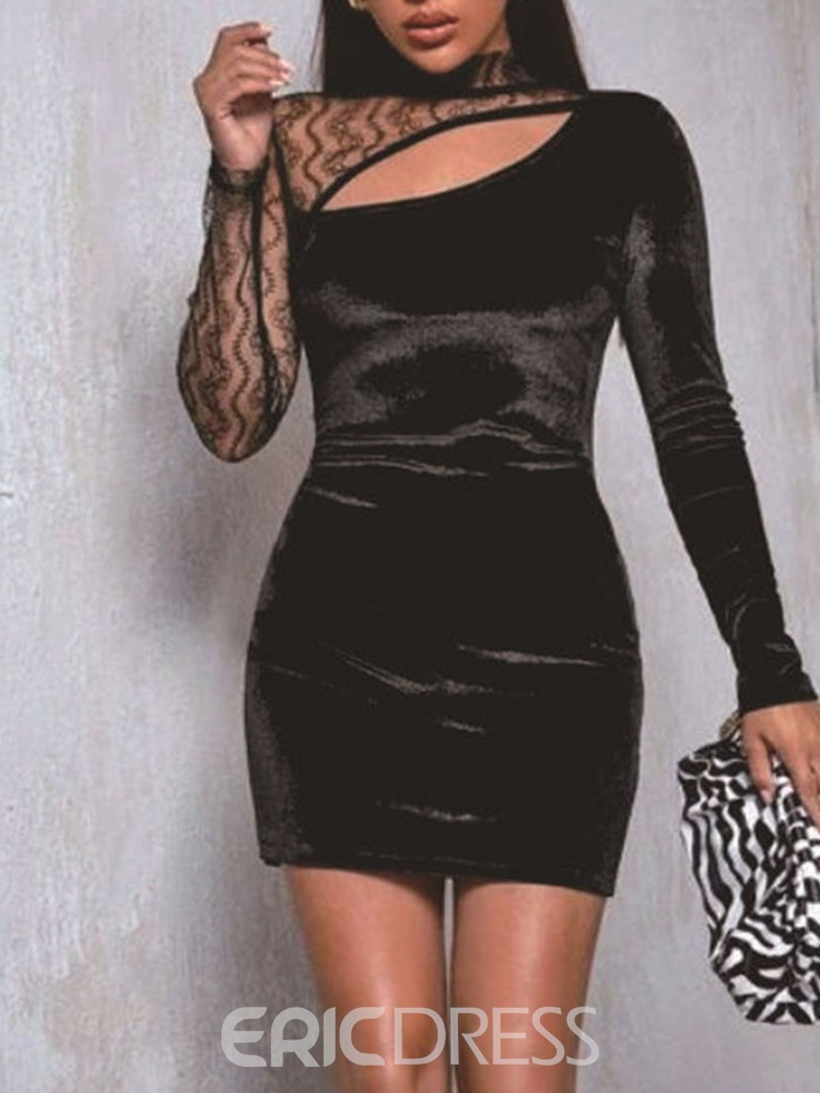 Ericdress Lace Long Sleeve Above Knee Mid Waist Party/Cocktail Dress