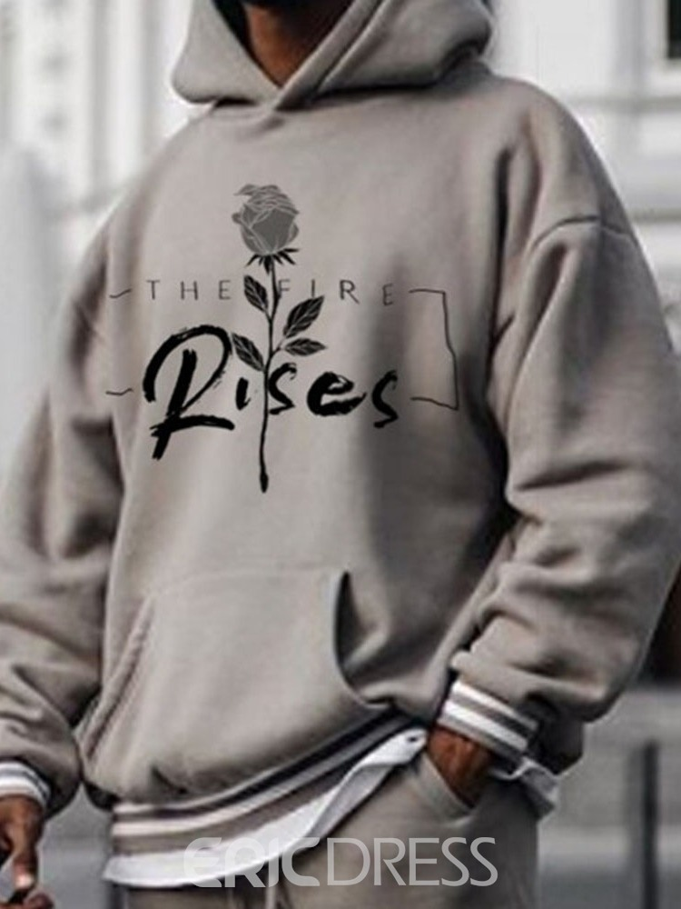 Ericdress Pullover Letter Print Casual Fall Men's Hoodies