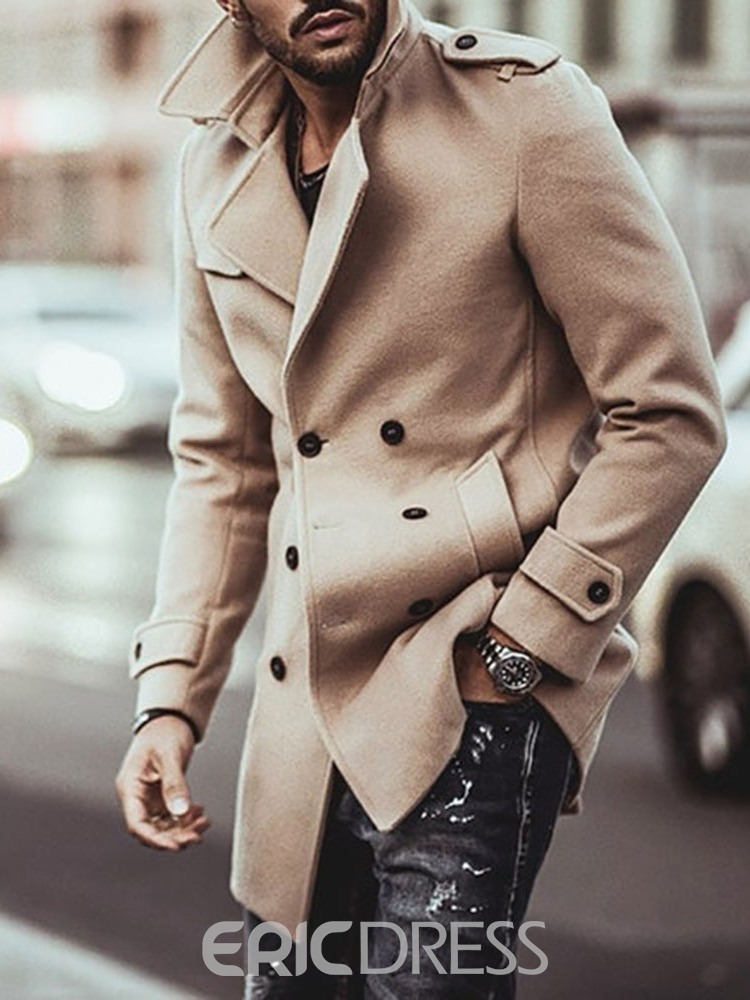 Ericdress Plain Mid-Length Lapel Double-Breasted Fall Men's Coat