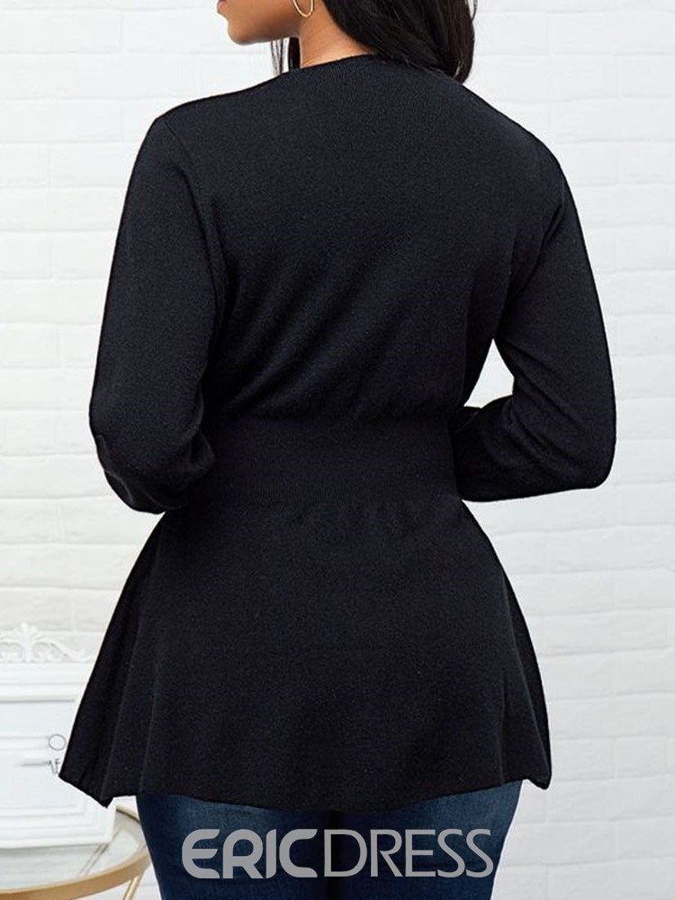 Ericdress Single-Breasted Button Long Sleeve V-Neck Sweater