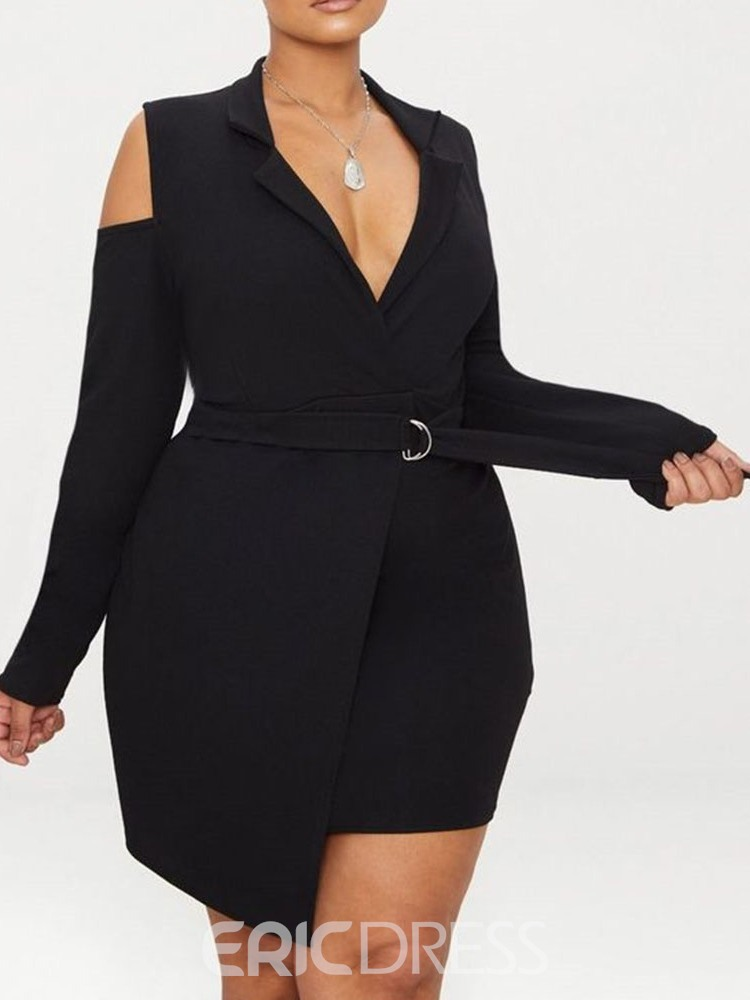 Ericdress Plus Size Asymmetric Long Sleeve Above Knee Fall Plain Dress