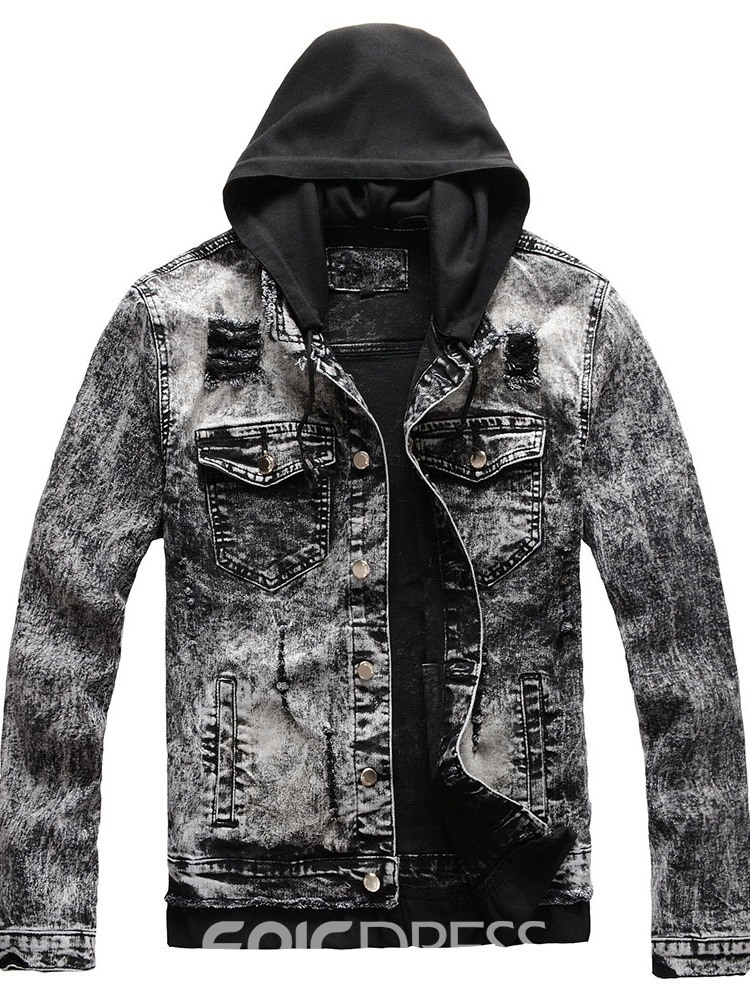 Ericdress Patchwork Hooded Stripe Men's Casual Single-Breasted Jacket