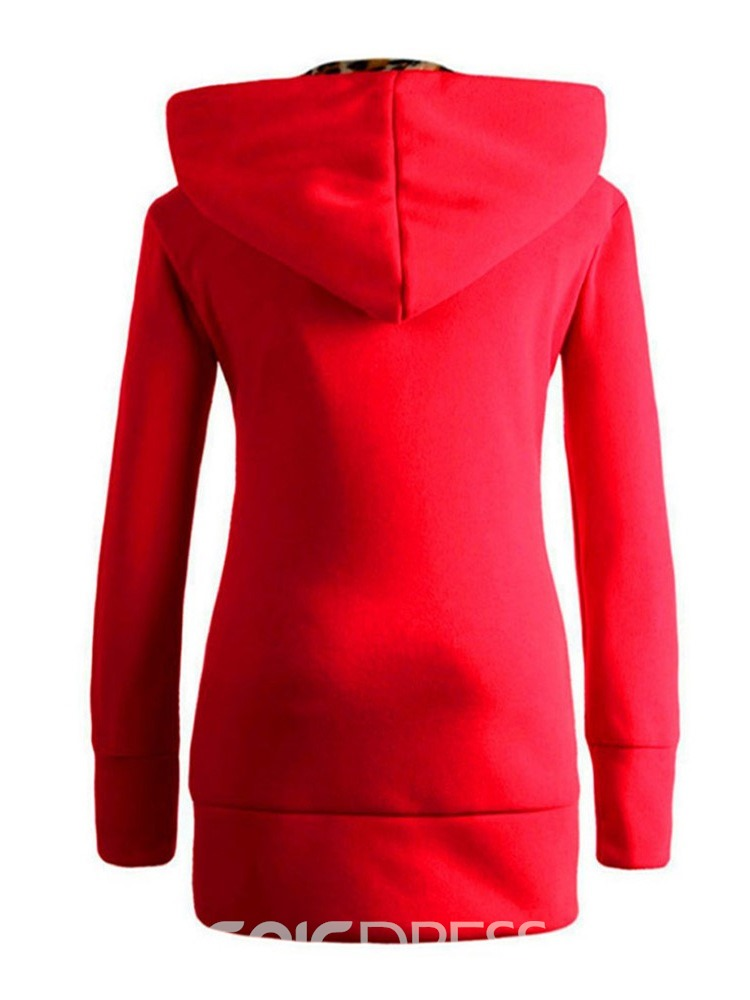 Ericdress Plain Patchwork Regular Fall Hooded Hoodie