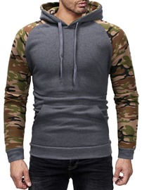 Ericdress Pullover Camouflage Patchwork Slim Casual Hoodies