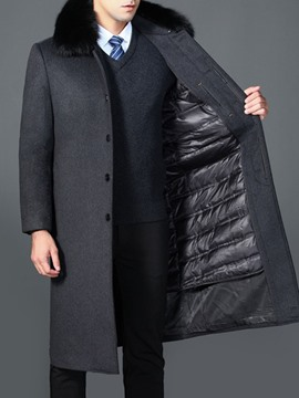 Ericdress Lapel Long Plain Straight Single-Breasted Men's Coat