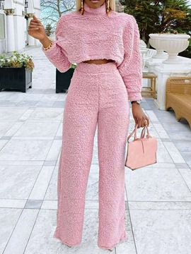 Ericdress Pants Plain Sweet Pullover Turtleneck Two Piece Sets