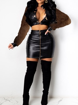Ericdress Western Zipper Jacket Single-Breasted Bodycon Two Piece Sets