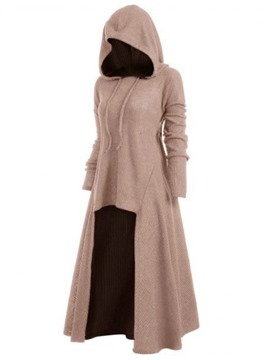 Ericdress Asymmetric Regular Long Hooded Sweater