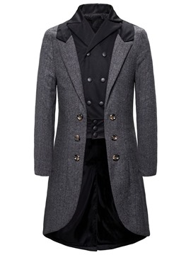 Ericdress Patchwork Mid-Length Color Block Fall Men's Slim Coat