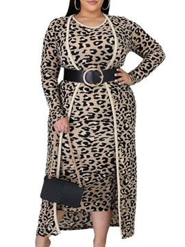 Ericdress Mid-Calf Round Neck Sleeveless Fashion Leopard Dress