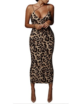 Ericdress V-Neck Print Sleeveless Leopard Pencil Dress