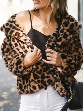 Ericdress Regular Leopard Lapel Zipper Straight Faux Fur Overcoat