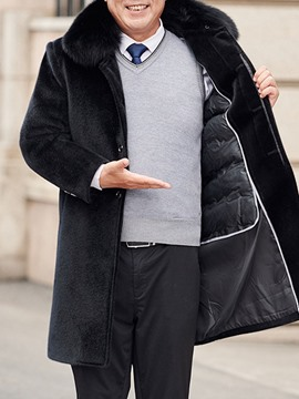 Ericdress Lapel Mid-Length Plain Straight Men's Coat
