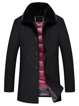 Ericdress Lapel Mid-Length Plain Men's Casual Coat