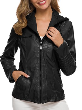 Ericdress Slim Zipper Standard Women's Fall PU Jacket
