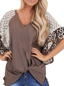 Ericdress Half Sleeve V-Neck Leopard Loose Fall T-Shirt