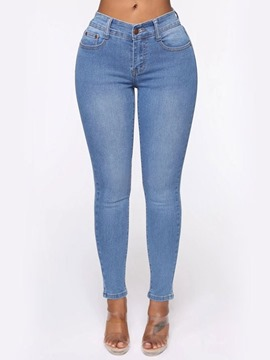 Ericdress Plain Pencil Pants Hole Skinny Low Waist Jeans