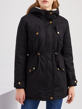 Ericdress Thick Slim Zipper Mid-Length Cotton Padded Jacket