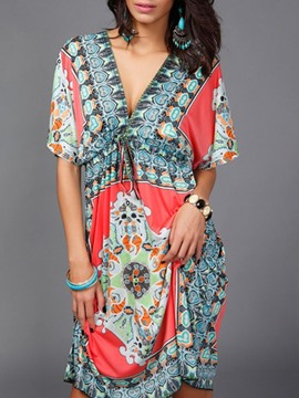 Ericdress Above Knee V-Neck Print A-Line Summer Dress