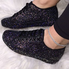 Ericdress Lace-Up Low-Cut Upper Sequin Flat With Sneakers