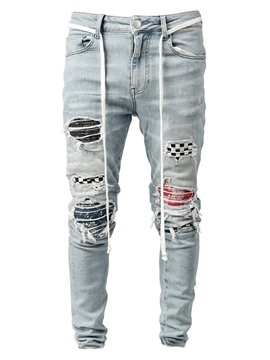Ericdress Pencil Pants Plaid Patchwork Mid Waist Hip Hop Jeans