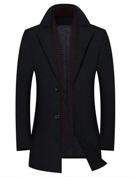 manteau d'hiver mi-long uni à revers ericdress