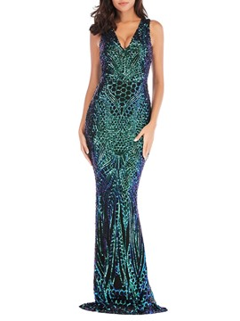 Ericdress Sequins Floor-Length V-Neck High Waist Sexy Dress