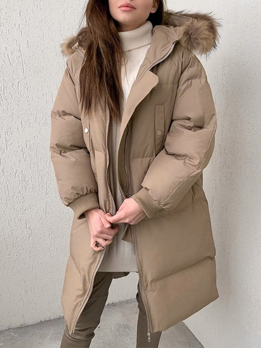 Ericdress Pocket Thick Zipper Long Cotton Padded Jacket