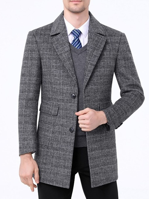 Ericdress Notched Lapel Mid-Length Slim Single-Breasted Men's Coat