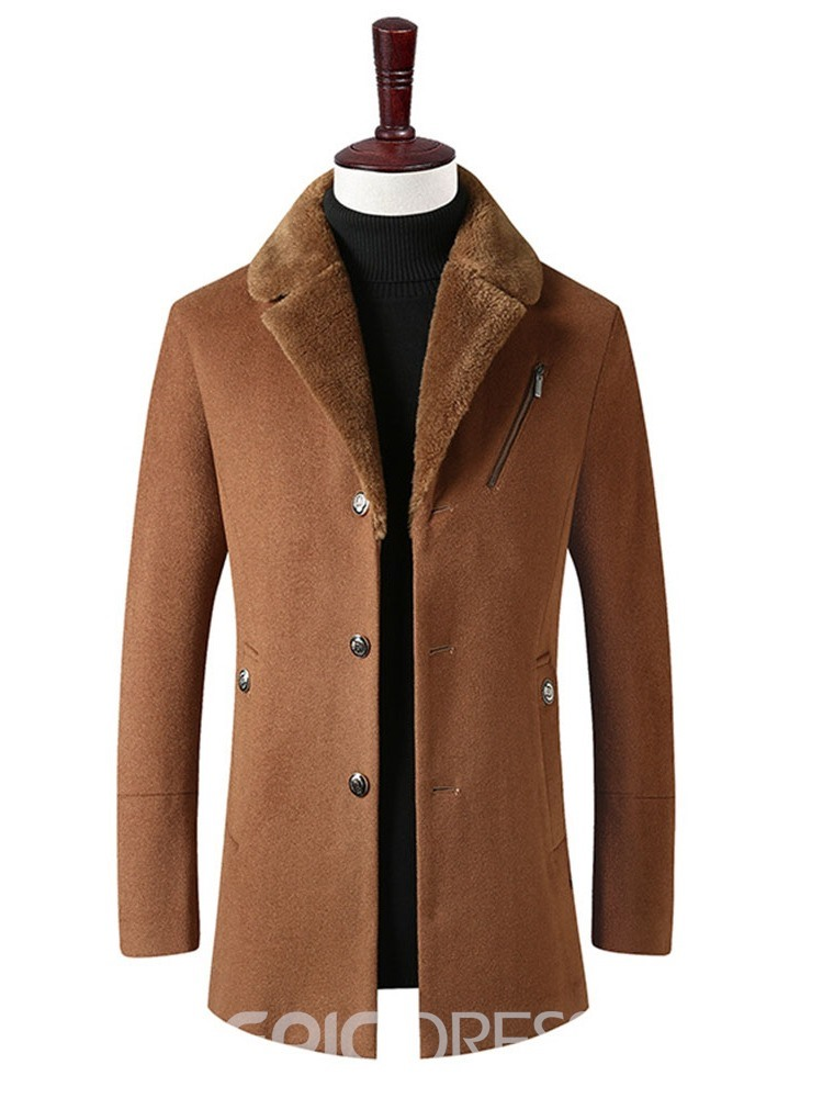 Ericdress Zipper Mid-Length Lapel Single-Breasted Men's Slim Coat