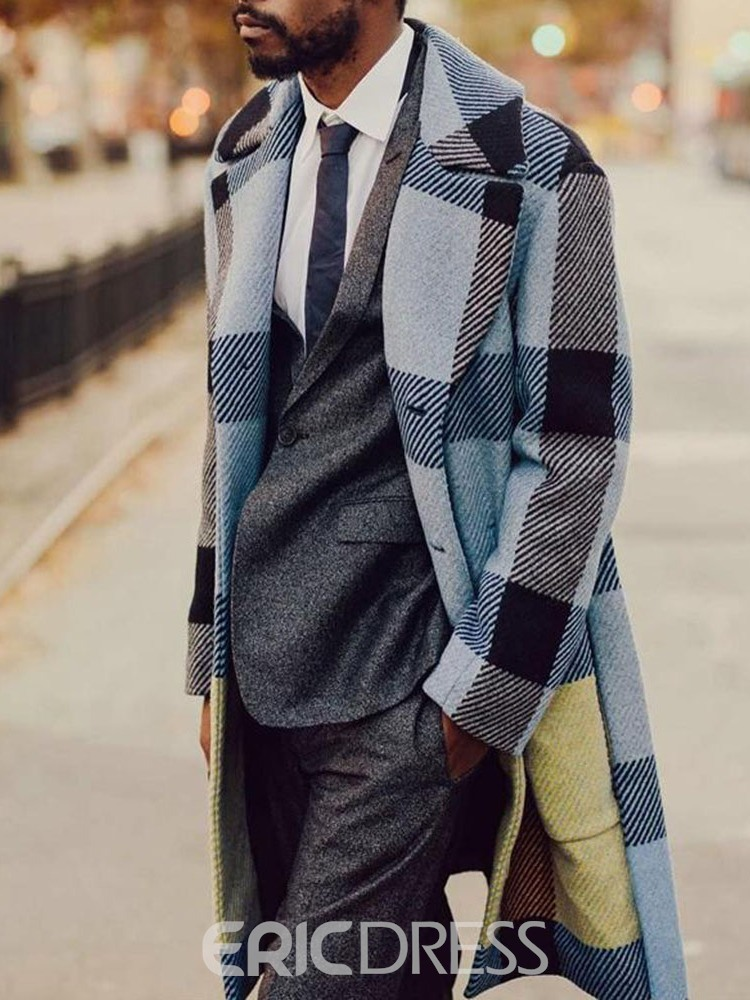 Ericdress Plaid Lapel Mid-Length Straight Single-Breasted Coat