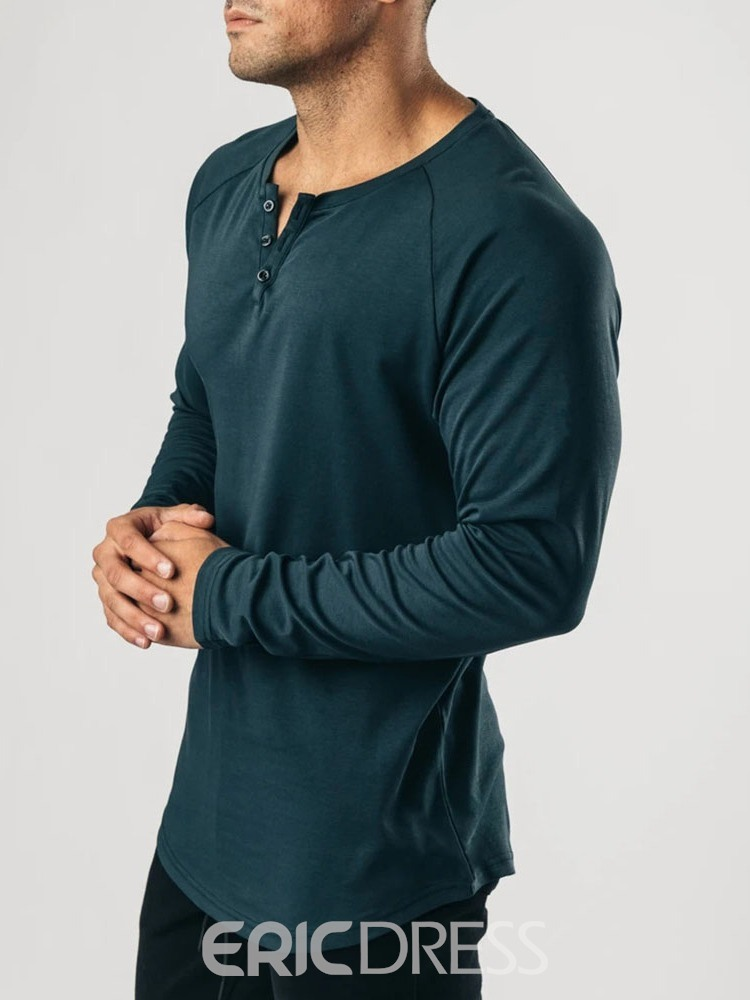 Ericdress Casual Button Round Neck Slim Long Sleeve T-shirt