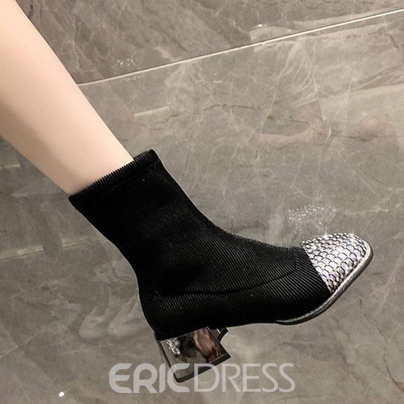 Ericdress Slip-On Patchwork Round Toe PU Boots
