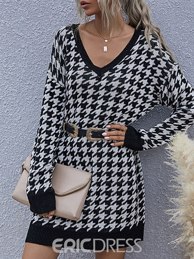 Ericdress V-Neck Long Sleeve Patchwork Pullover Casual Dress