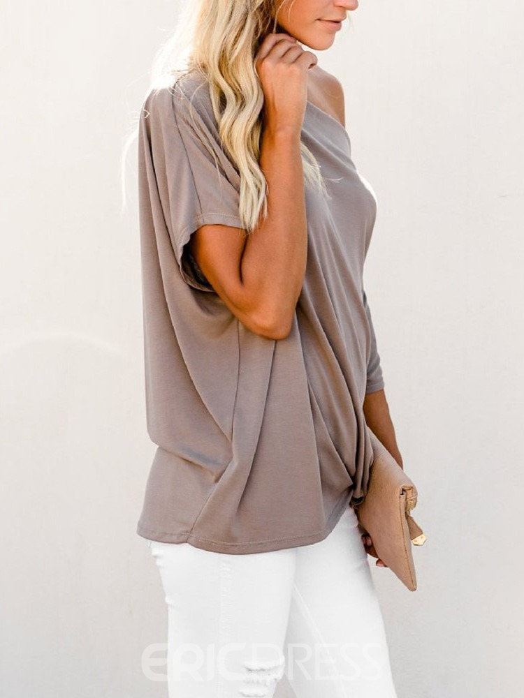 Ericdress Oblique Collar Half Sleeve Plain Fall Loose T-Shirt