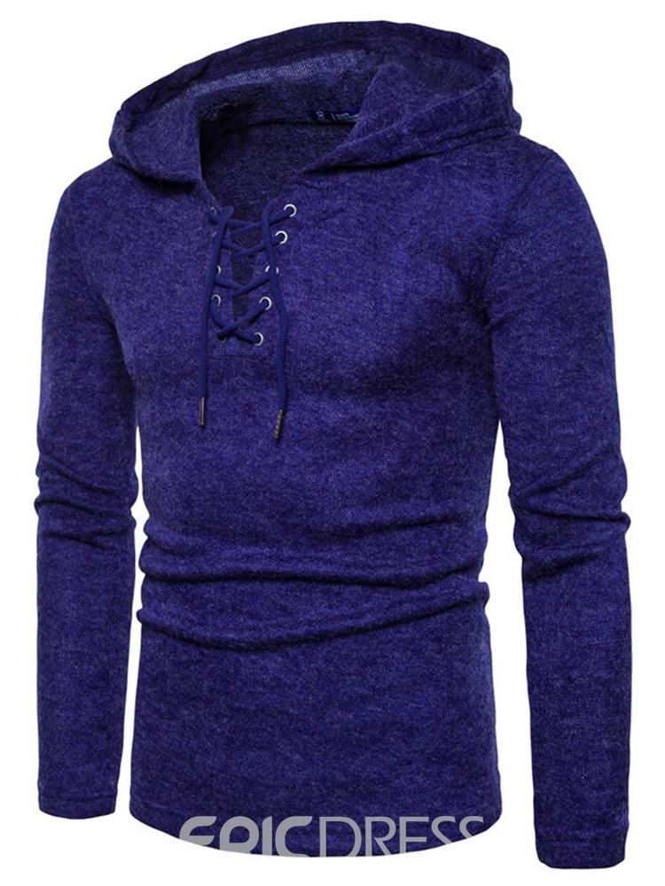 Ericdress Plain Hooded Lace-Up Slim European Sweater