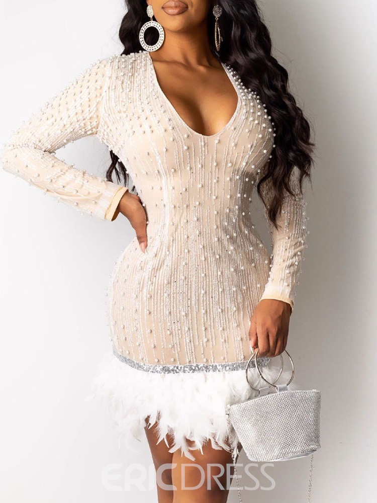 Ericdress V-Neck Long Sleeve Sequins Fall Mid Waist Dress