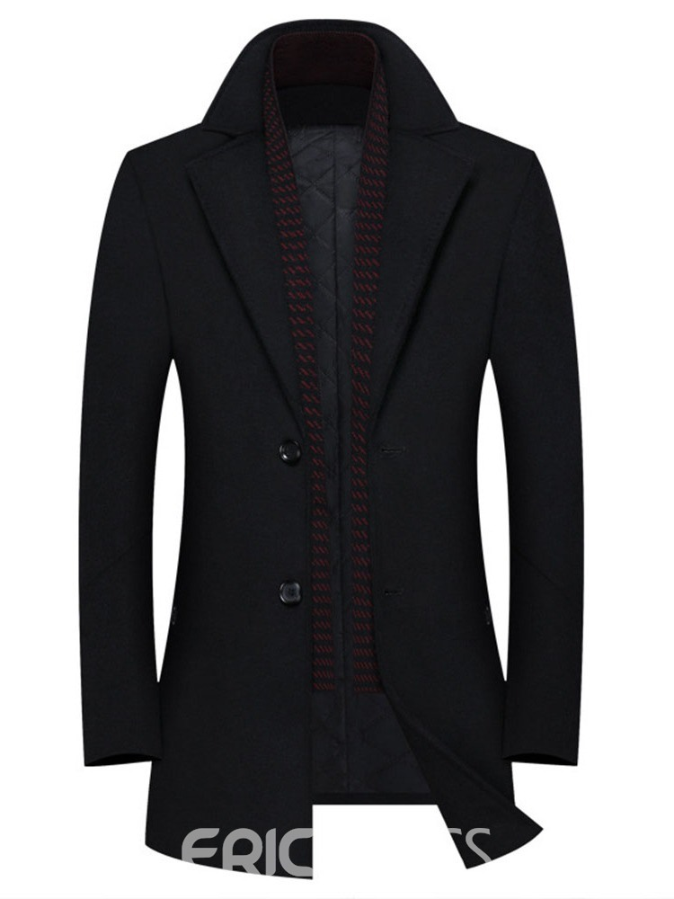 Ericdress Lapel Plain Mid-Length Winter Slim Coat