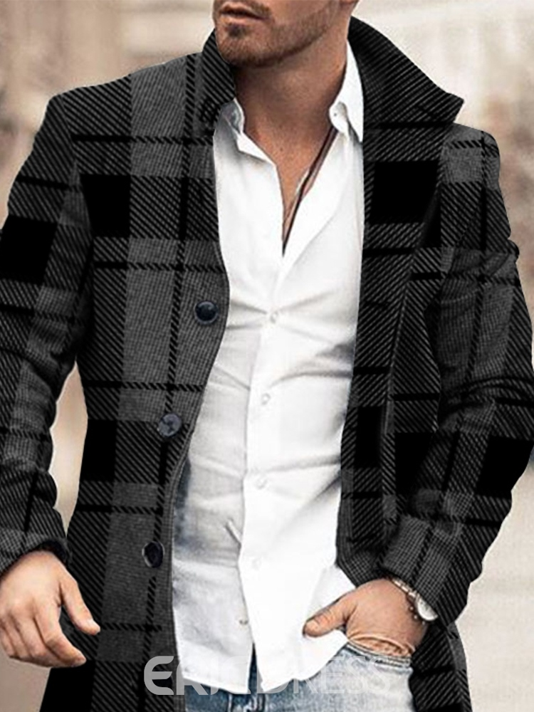 Ericdress Stand Collar Plaid Mid-Length European Single-Breasted Coat