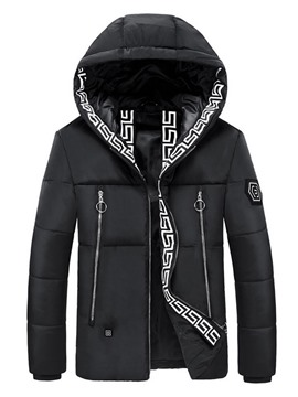 Ericdress Appliques Hooded Standard Korean Zipper Down Jacket