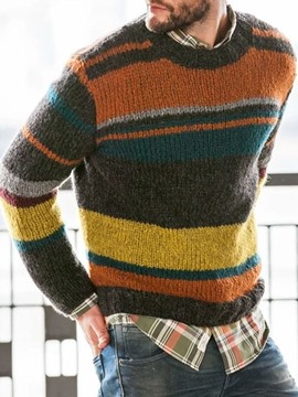 Ericdress Color Block Standard Round Neck European Men's Sweater