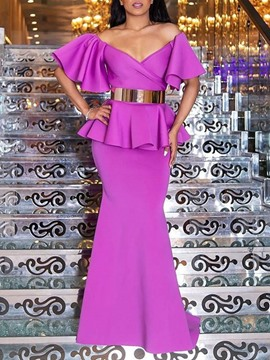 Ericdress Falbala Floor-Length V-Neck Trumpet Pullover Dress