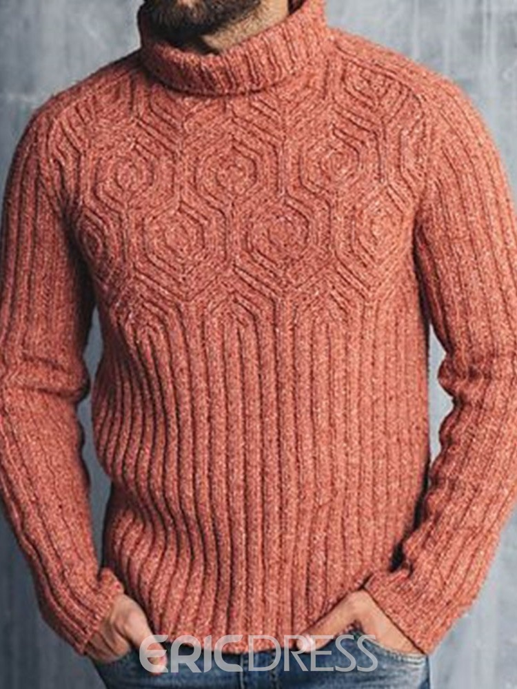Ericdress Plain Turtleneck Standard Casual Fall Men's Sweater