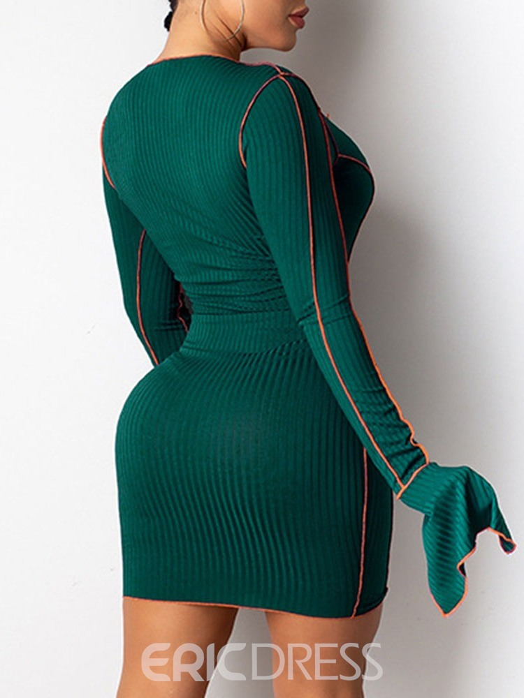 Ericdress Long Sleeve Above Knee Hollow Party/Cocktail Flare Sleeve Dress