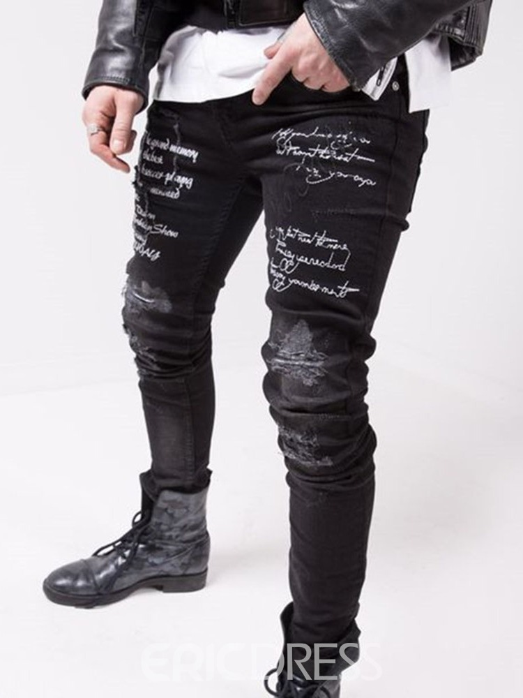 Ericdress Letter Print Pencil Pants European Men's Jeans
