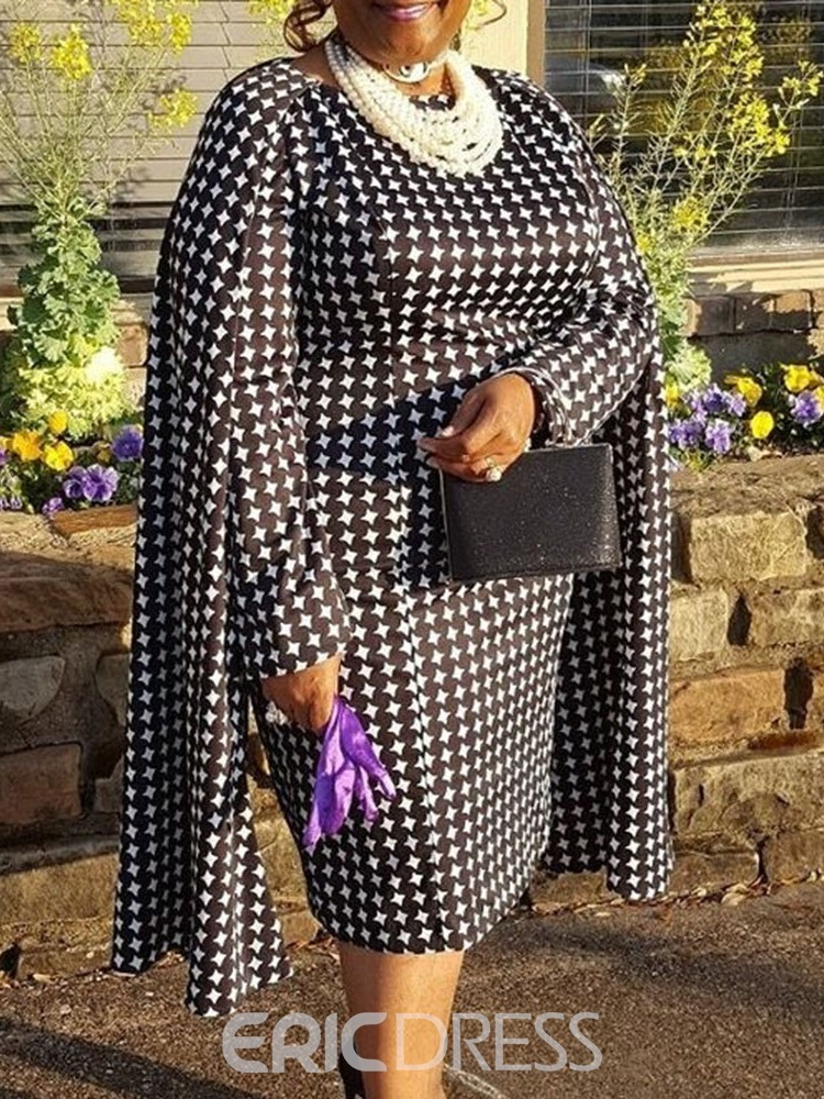 ericdress grande taille mi-mollet manches longues col rond robe d'automne western
